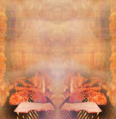 barbecue with delicious grilled meat ,Abstract vintage frame