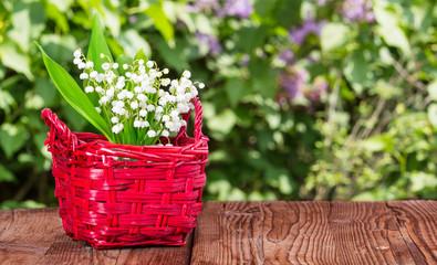 Maiglöckchen auf Gartentisch vor Flieder
