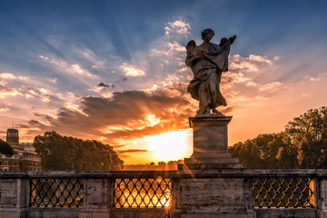 Sunrise at the Ponte Sant'Angelo, Rome