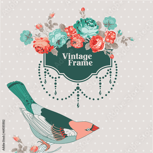 Tuinposter Abstract bloemen Vintage Card - with Retro Frame, Bird and Flowers