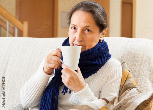 Mature illness woman