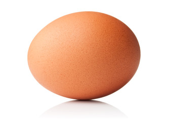 Brown chicken egg isolated on white background