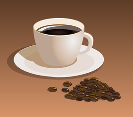 Vector coffee cup with coffee beans