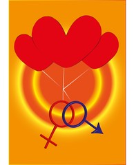Two gender sign with three hearts