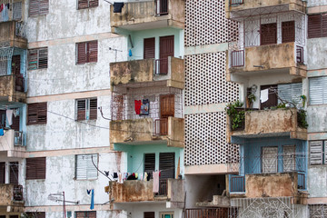 Dilapidated apartment block in cuban countryside.