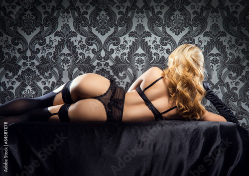 Leinwanddruck Bild Young, sexy and beautiful woman in underwear