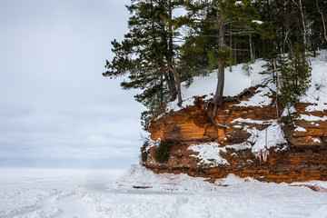Solitude - with Copy Space at Frozen Lake Superior Shore
