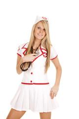 nurse stethoscope on her own heart
