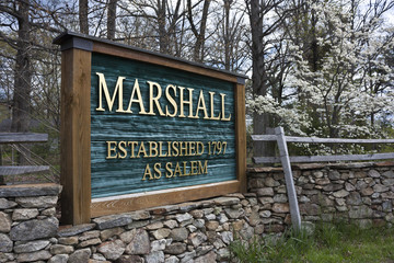 Sign at the entrance to Marshall, Virginia