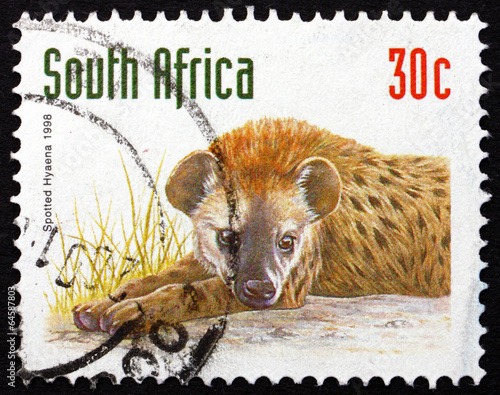 Staande foto Hyena Postage stamp South Africa 1998 Spotted Hyena, Animal