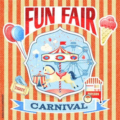 Vintage carnival poster template - 64588617