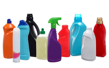 Many different plastic bottles of cleaning products isolated on