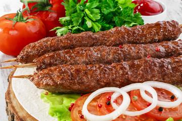 shish kebabs on wooden skewers