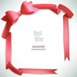 Background with red framing and bow and place for text. Vector I