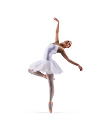 Young beautiful ballet dancer isolated on white
