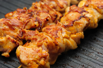 chicken shish kebab on skewers