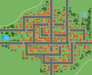 City map with houses roads top view