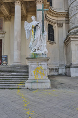 Vienna Austria Karlskirche vandalism 2014 May