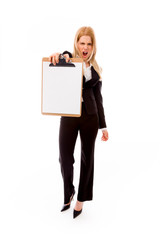 Frustrated businesswoman showing a blank clipboard