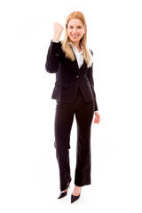 Businesswoman punching the air