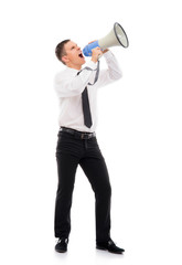 Angry businessman boss screaming with a megaphone