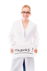 Female scientist showing thanks sign on white background