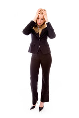 Businesswoman crying in grief