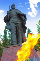 Monument with eternal flame in Zvenigorod, Russia