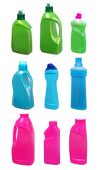 set of plastic bottles of cleaning products on white