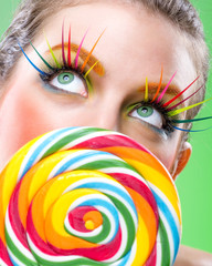 Extremely beauty colorful lollipop, comes with matching makeup