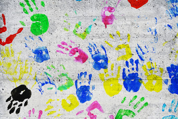 colorful kids handprints