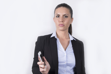 Beautiful business woman with her smartphone