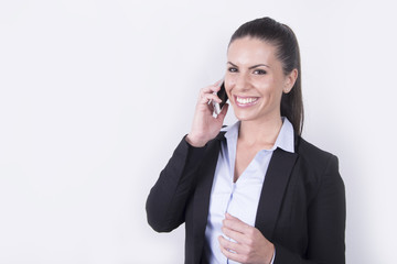 beautiful woman making a call on her smartphone