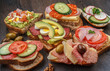 Collection of sandwiches on wooden table