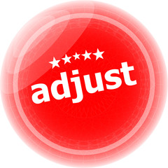 adjust word red stickers, icon button, business concept