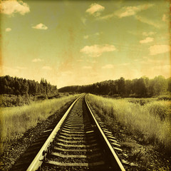 Railroad in grunge and retro style.