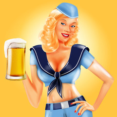 girl marine with beer