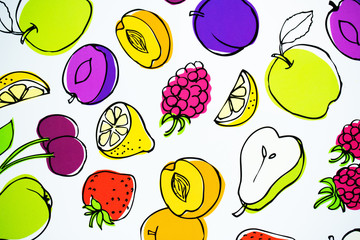 Fruits on a white backround texture