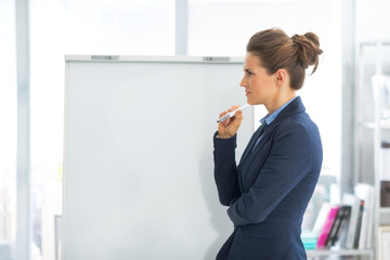 Thoughtful business woman near flipchart