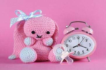 Baby girl nursery cute bunny, dummy and clock