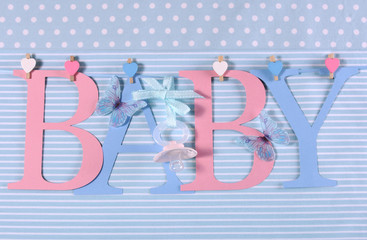 Pink and blue theme Baby bunting letters