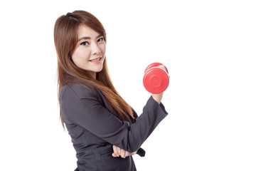 Side of Asian businesswoman happy lift a dumbbell with a hand