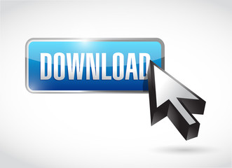 blue download button illustration design