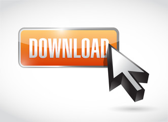orange download button illustration design