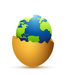 broken egg and globe inside. illustration design