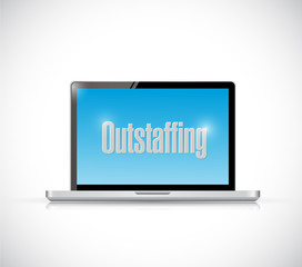 computer out staffing message sign illustration