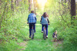 Young couple ride bicycles in the forest back to camera. Dog wal