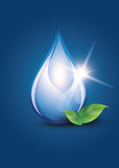 Vector water drop on dark-blue background