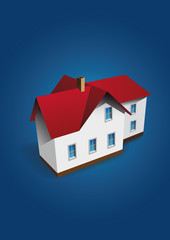 Vector house on dark-blue background