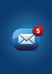 mail icon vector on dark-blue background